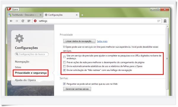 Opera: como ajustar as configurações de privacidade e segurança do browser