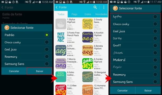 Baixe mais estilos de fontes para o seu aparelho Android.