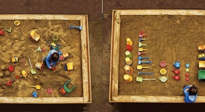 Caixa de areia.