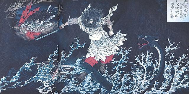 Susanoo decapitando o temido Yamata no Orochi