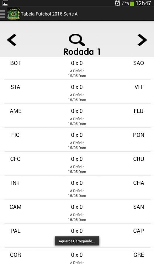 Tabela Brasileirão 2016 Download para Android em Português