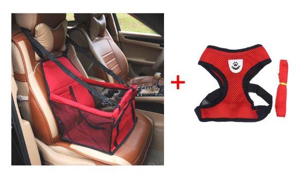Imagem: Assento de carro pet e coleira