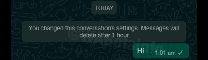 A informação de que aquela mensagem vai se autodestruir em algum momento.