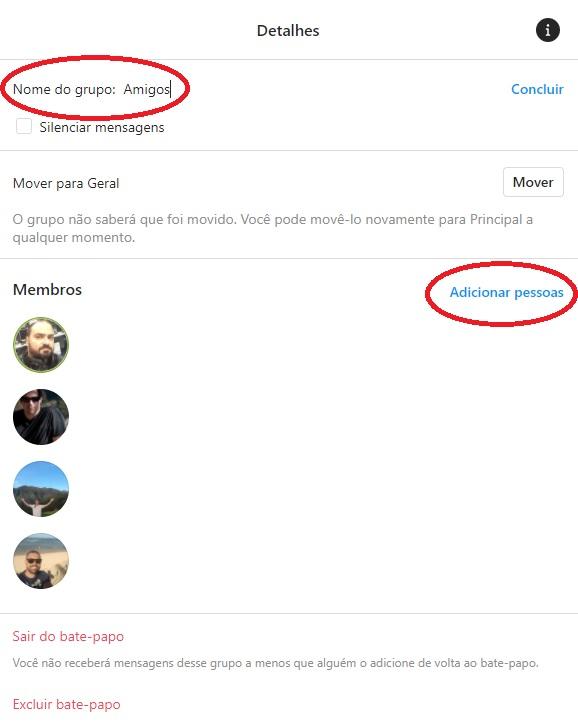Antes de iniciar o grupo é possível criar um nome para ele, adicionar mais pessoas e até remover membros