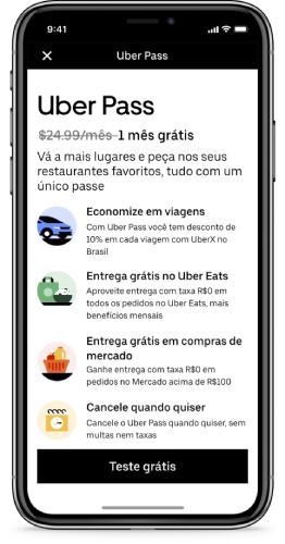 A assinatura do Uber Pass é realizada pelo próprio app.