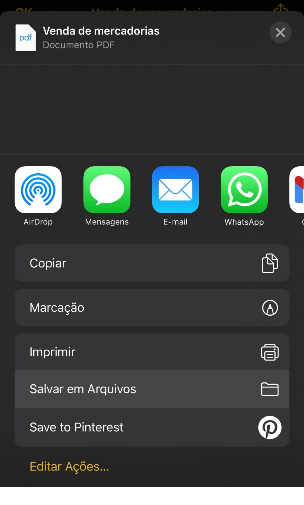 Você também pode enviar o documento escaneado para um aplicativo