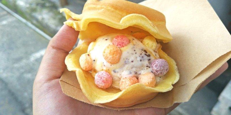 員林美食_正興街紅豆餅│銅板下午茶點心,看著就消暑的七彩冰淇淋紅豆餅~