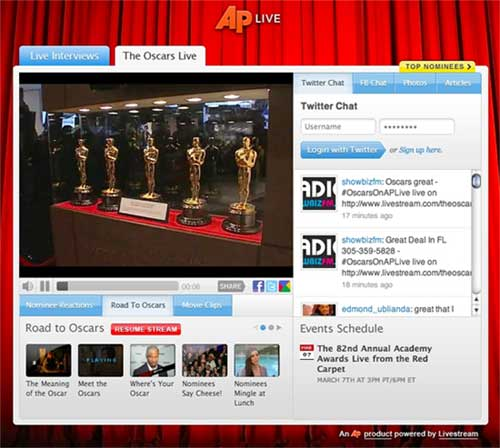 AP Partners With Livestream On Oscars Red Carpet