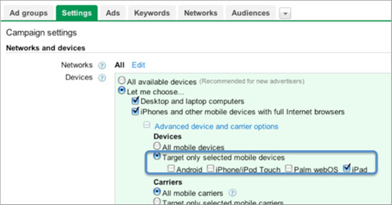 Google Introduces iPad Targeting