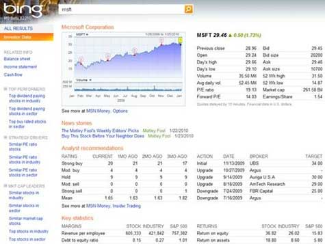 Bing Now Offering More Finance Information