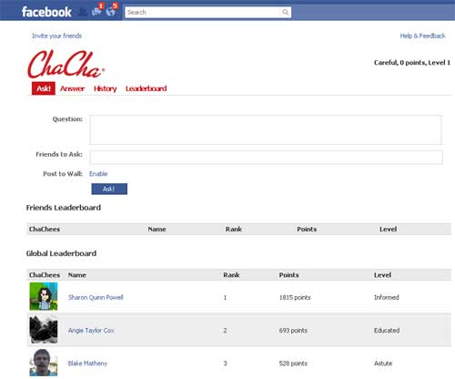 ChaCha Introduces New Facebook App
