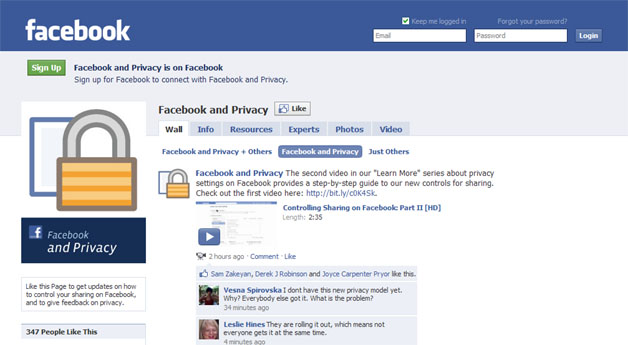 """Official """"Facebook And Privacy"""" Page Launches"""