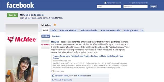 Facebook, McAfee Partner