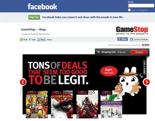 GameStop Introduces Facebook Store