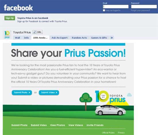 Toyota Launches Facebook Contest For Prius Anniversary