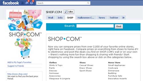 Shop.com Launches Shopping App On Facebook