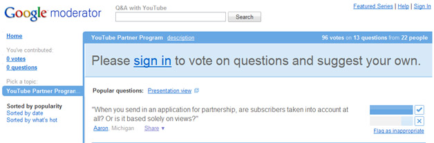 YouTube Invites Questions About Partner Program