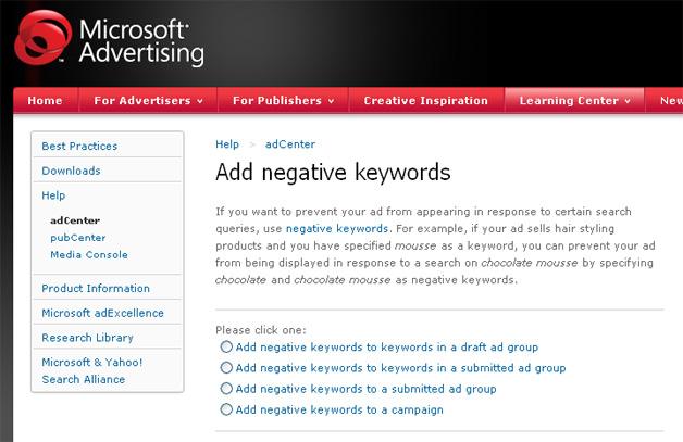 adCenter Negative Keywords