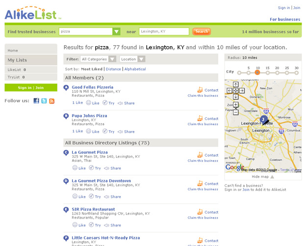 AlikeList.com brings social element to business reviews