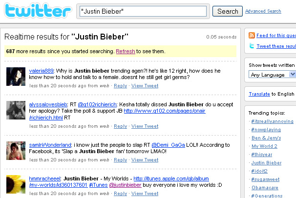 Justin Bieber Twitter Search - Notice how they keep rolling in