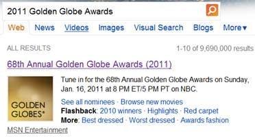 Bing Golden Globes info