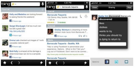 Bing iphone App gets an upgrade wtih Facebook and Twitter
