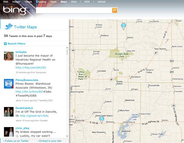 Twitter Maps on Bing