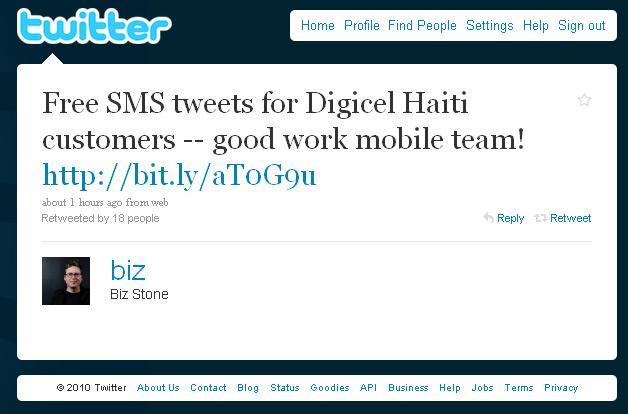 Twitter Arranges for Free SMS Tweets in Haiti