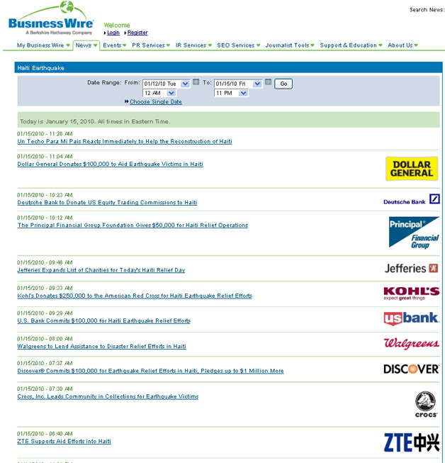 BusinessWire Haiti News Archive