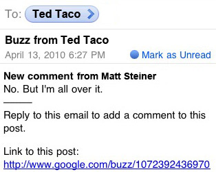 Google Buzz Lets you comment from email