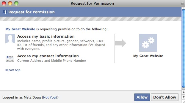 Facebook Permission Request for User Info