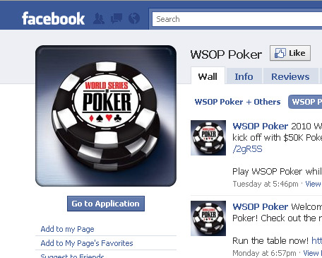 World Series of Poker app on Facebook
