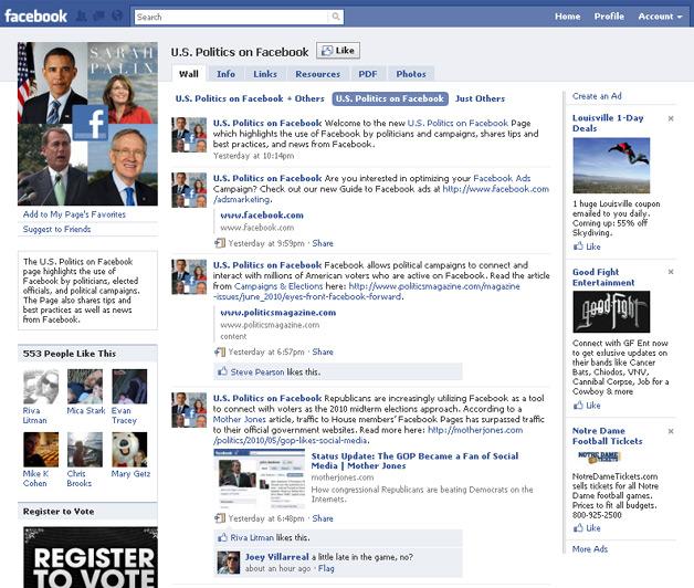 Facbook Politics Page