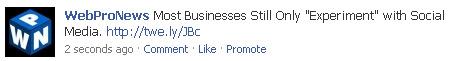 Facebook - Promote your status updates