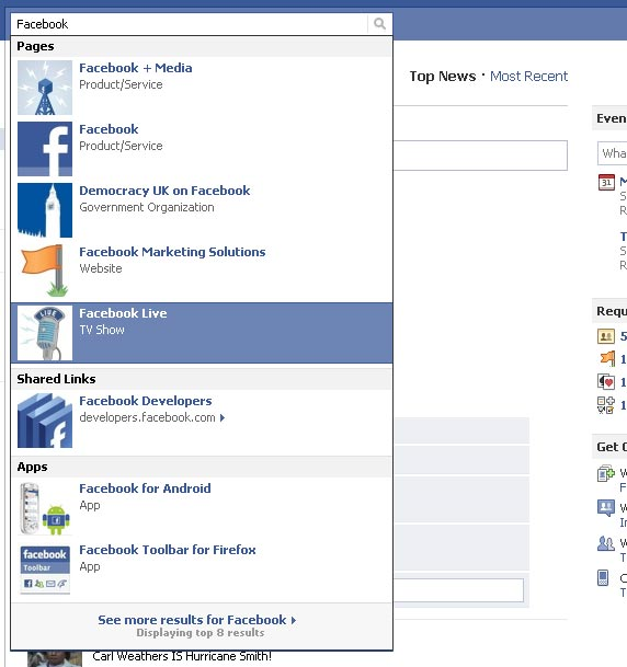 Facebook Search Update Separates Categories