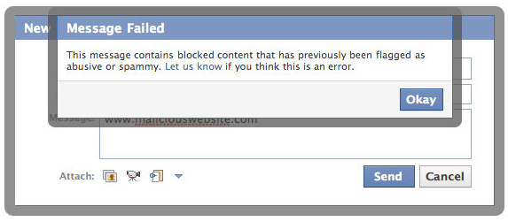 Facebook Spam Message