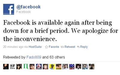 Facebook Apologizes for outage