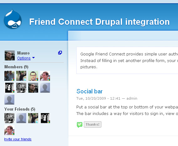 Friend Connect on Drupal