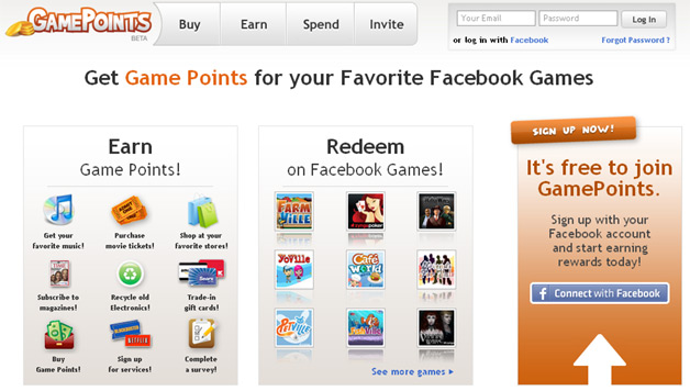 GamePoints Centralizes Virtual Currency for Facebook and Other Gaming Apps