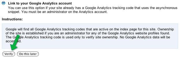 Verify with Google Analytics