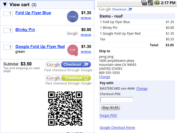 Google Checkout Android Extension
