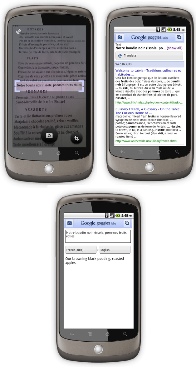 Google Goggles Gives Translations Via Camera