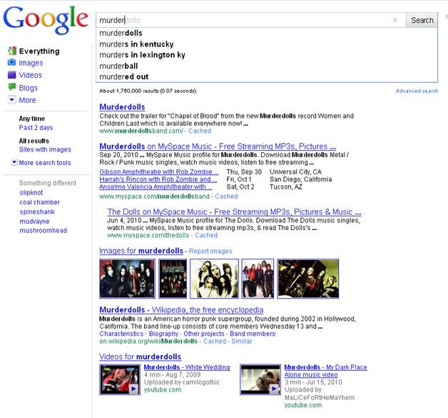 Google Instant Murder results