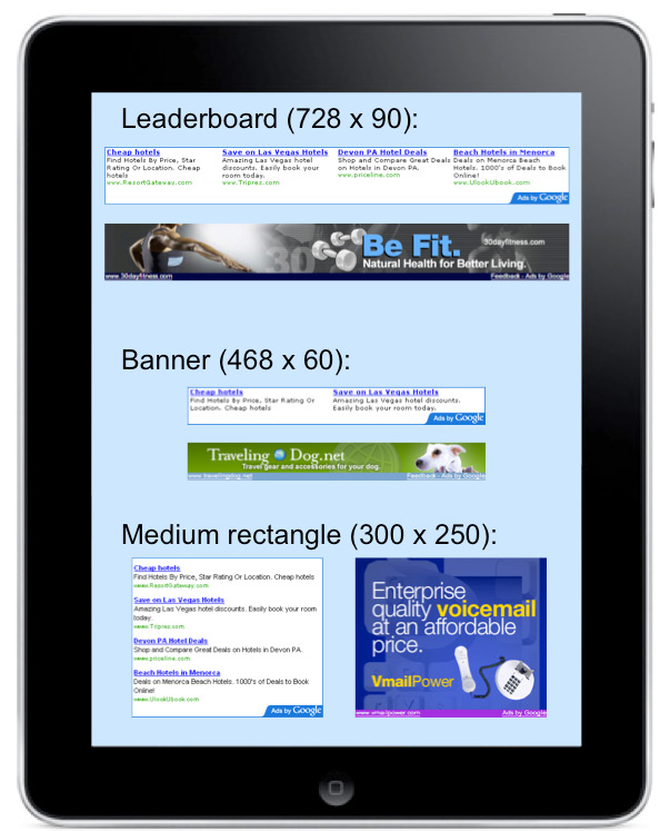 AdSense for Mobile Applications on the iPad