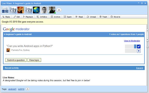Google Moderator API in use