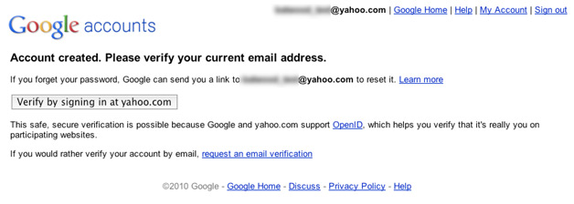 Google OpenID - Verifiy by signing in at Yahoo.com