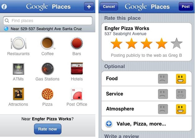 Google Places with Hotpot App Released for iPhone