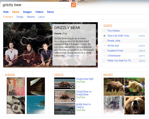 Grizzly Bear on Bing