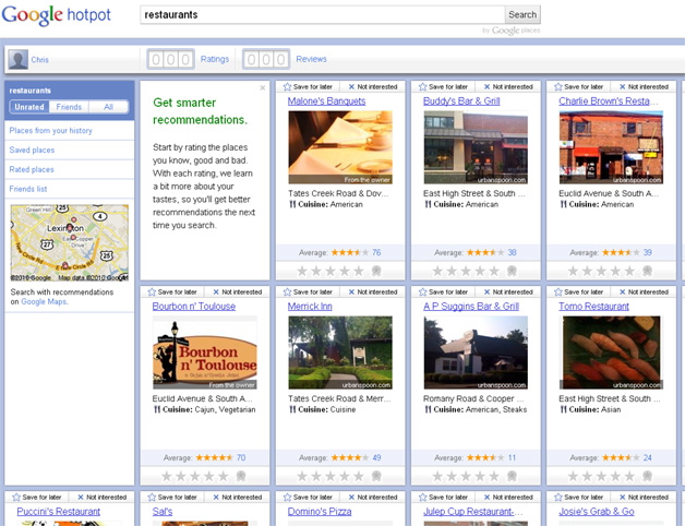 Using Hotpot to rate places and get recommendations