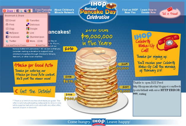 IHOP Promotes National Pancake Day on its own page